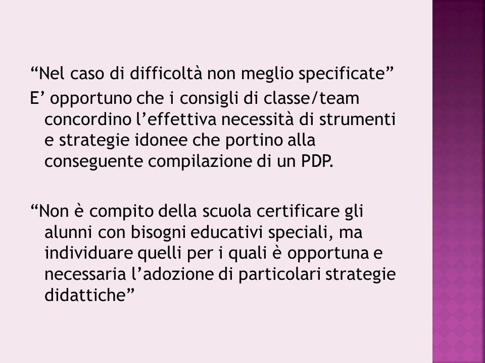 """""""Nel caso di difficoltà non meglio specificate"""" E' opportuno che i consigli di classe/team concordino l'effettiva necessità di strumenti e strategie i"""
