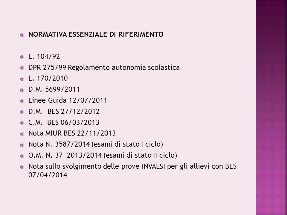  NORMATIVA ESSENZIALE DI RIFERIMENTO  L. 104/92  DPR 275/99 Regolamento autonomia scolastica  L. 170/2010  D.M. 5699/2011  Linee Guida 12/07/201