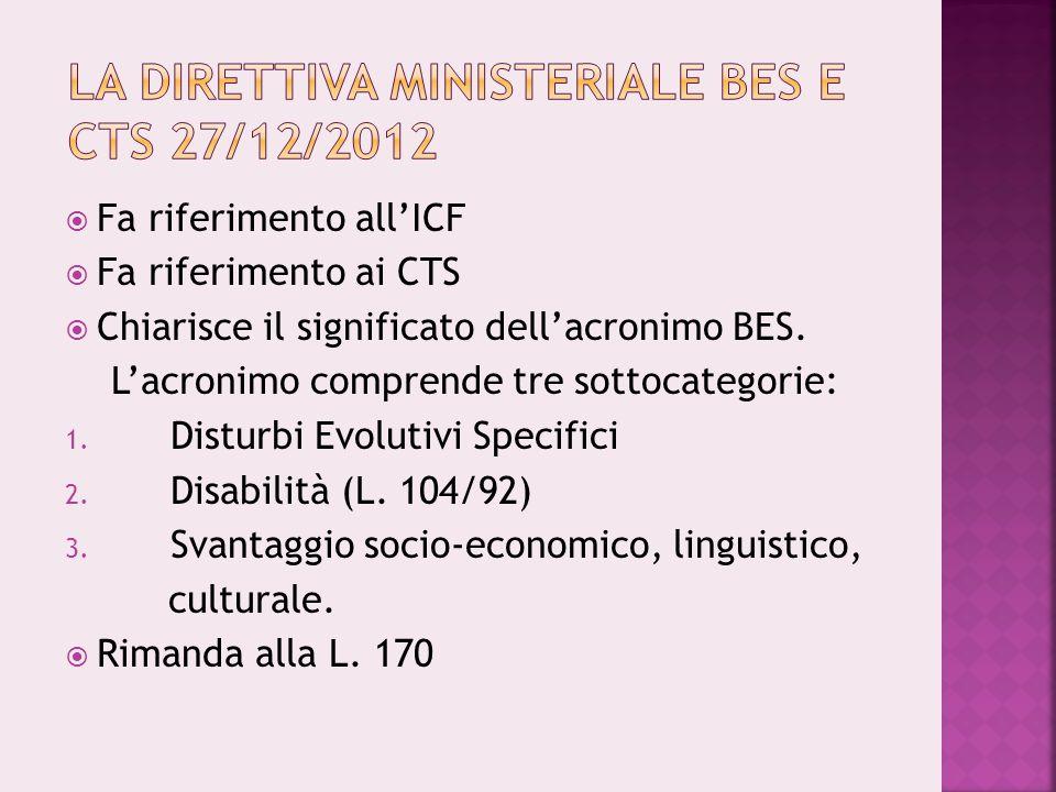  Fa riferimento all'ICF  Fa riferimento ai CTS  Chiarisce il significato dell'acronimo BES. L'acronimo comprende tre sottocategorie: 1. Disturbi Ev