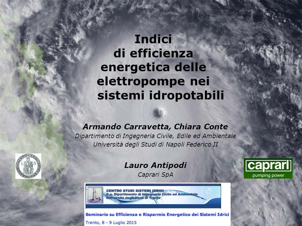 Indici di efficienza energetica delle elettropompe nei sistemi idropotabili Armando Carravetta, Chiara Conte Dipartimento di Ingegneria Civile, Edile
