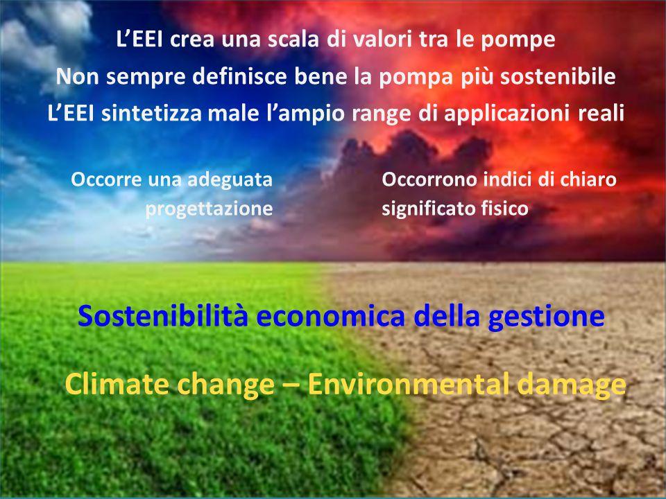 Occorre una adeguata progettazione L'EEI crea una scala di valori tra le pompe Non sempre definisce bene la pompa più sostenibile L'EEI sintetizza mal