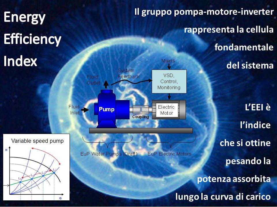 Il gruppo pompa-motore-inverter rappresenta la cellula fondamentale del sistema L'EEI è l'indice che si ottine pesando la potenza assorbita lungo la c