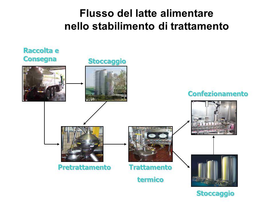 Raccolta e Consegna Stoccaggio PretrattamentoTrattamentotermico Confezionamento Stoccaggio Flusso del latte alimentare nello stabilimento di trattamen