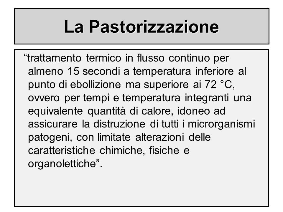 """La Pastorizzazione """"trattamento termico in flusso continuo per almeno 15 secondi a temperatura inferiore al punto di ebollizione ma superiore ai 72 °C"""