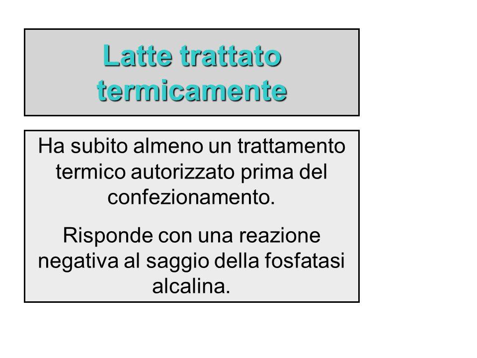 Latte trattato termicamente Ha subito almeno un trattamento termico autorizzato prima del confezionamento. Risponde con una reazione negativa al saggi