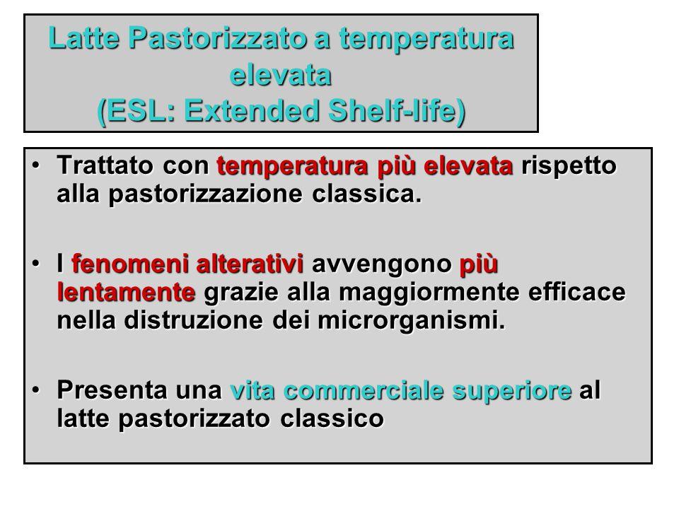 Latte Pastorizzato a temperatura elevata (ESL: Extended Shelf-life) Trattato con temperatura più elevata rispetto alla pastorizzazione classica.Tratta