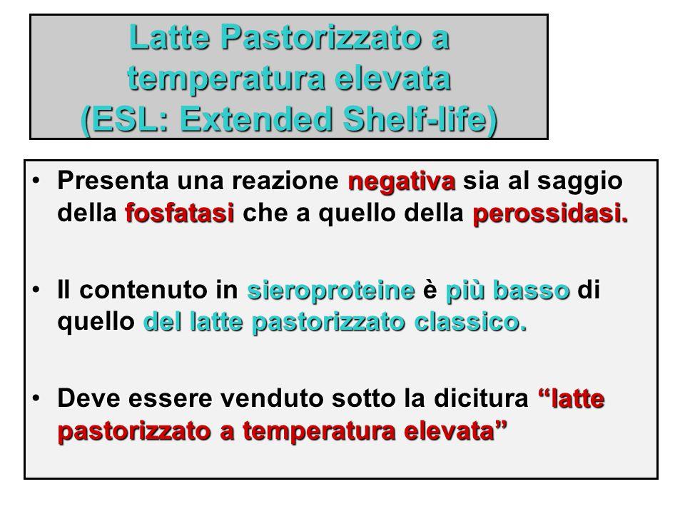 Latte Pastorizzato a temperatura elevata (ESL: Extended Shelf-life) Presenta una reazione negativa sia al saggio della fosfatasi che a quello della pe