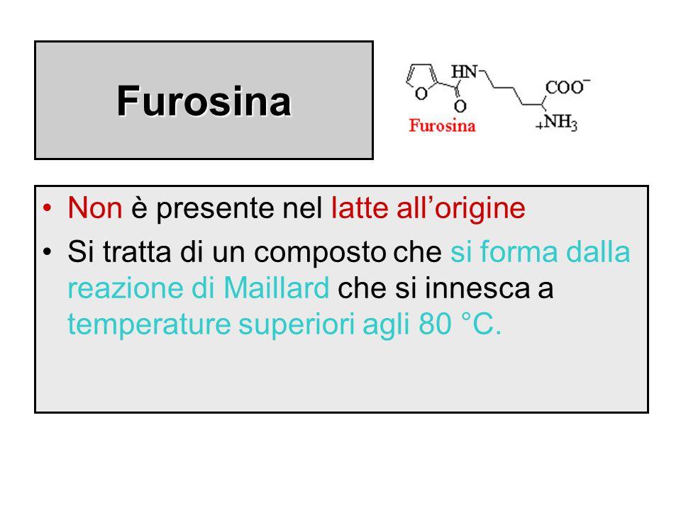 Furosina Non è presente nel latte all'origine Si tratta di un composto che si forma dalla reazione di Maillard che si innesca a temperature superiori