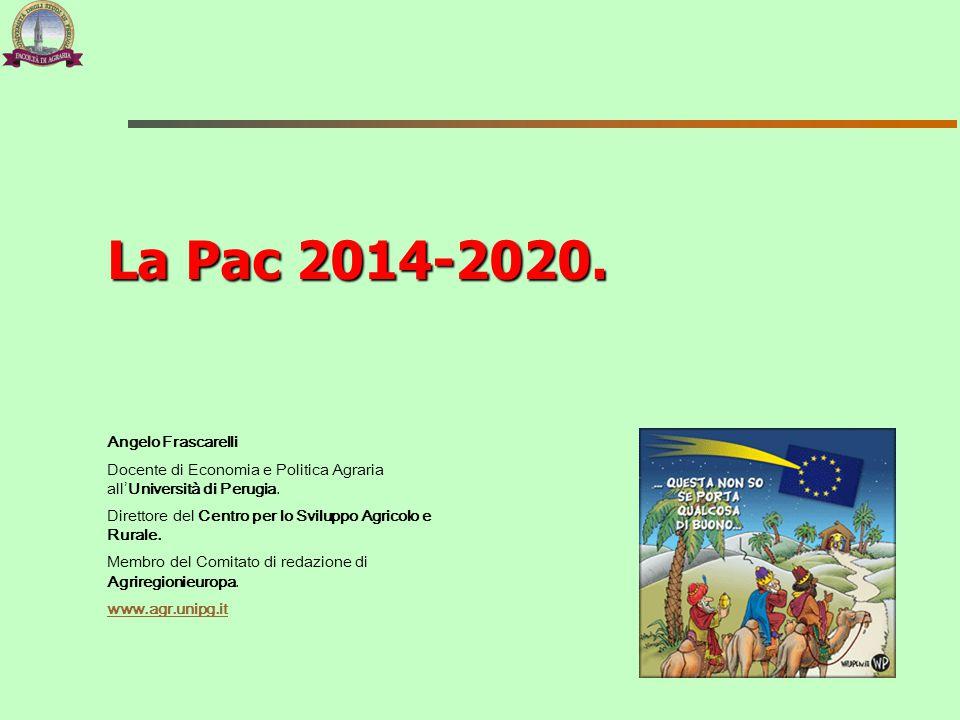 La Pac nel bilancio UE 2014-2020 Proposte (prezzi costanti 2011) 1° pilastro (pagamenti diretti e misure di mercato) 2° pilastro (sviluppo rurale) Totale Pac Bilancio 2007-2013322,6897,30417,98 Proposta della Commissione del 29 giugno 2011 286,5595,74382,29 Compromesso Consiglio europeo (8 febbraio 2013) 277,5884,94362,52 Riduzione budget per la Pac 2014-2020:  -12,4%.