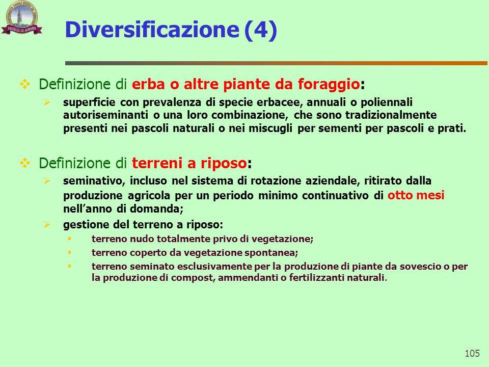 Diversificazione (4)  Definizione di erba o altre piante da foraggio:  superficie con prevalenza di specie erbacee, annuali o poliennali autorisemin