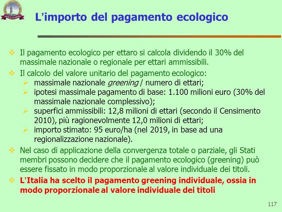 L'importo del pagamento ecologico  Il pagamento ecologico per ettaro si calcola dividendo il 30% del massimale nazionale o regionale per ettari ammis