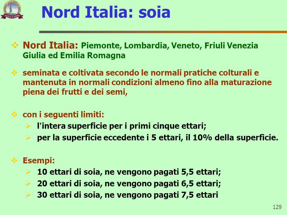 Nord Italia: soia  Nord Italia: Piemonte, Lombardia, Veneto, Friuli Venezia Giulia ed Emilia Romagna  seminata e coltivata secondo le normali pratic