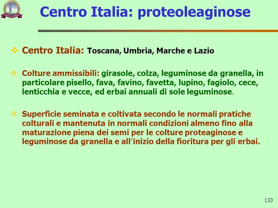 Centro Italia: proteoleaginose  Centro Italia: Toscana, Umbria, Marche e Lazio  Colture ammissibili: girasole, colza, leguminose da granella, in par