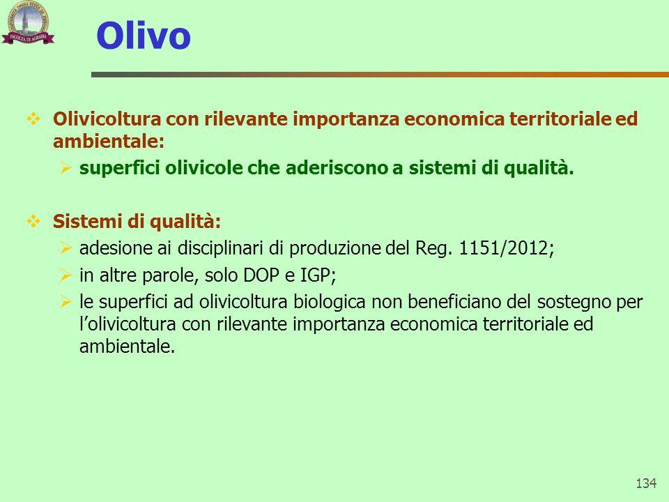 Olivo  Olivicoltura con rilevante importanza economica territoriale ed ambientale:  superfici olivicole che aderiscono a sistemi di qualità.  Siste