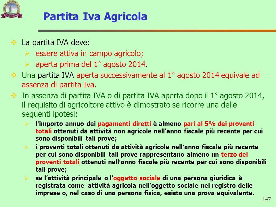Partita Iva Agricola  La partita IVA deve:  essere attiva in campo agricolo;  aperta prima del 1° agosto 2014.  Una partita IVA aperta successivam