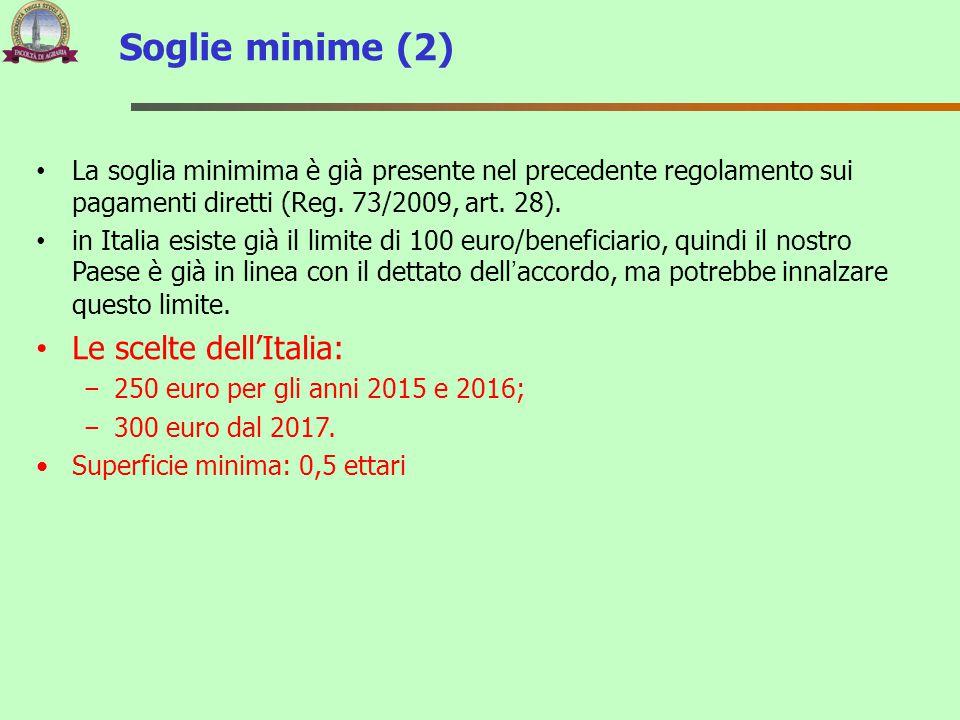 La soglia minimima è già presente nel precedente regolamento sui pagamenti diretti (Reg. 73/2009, art. 28). in Italia esiste già il limite di 100 euro
