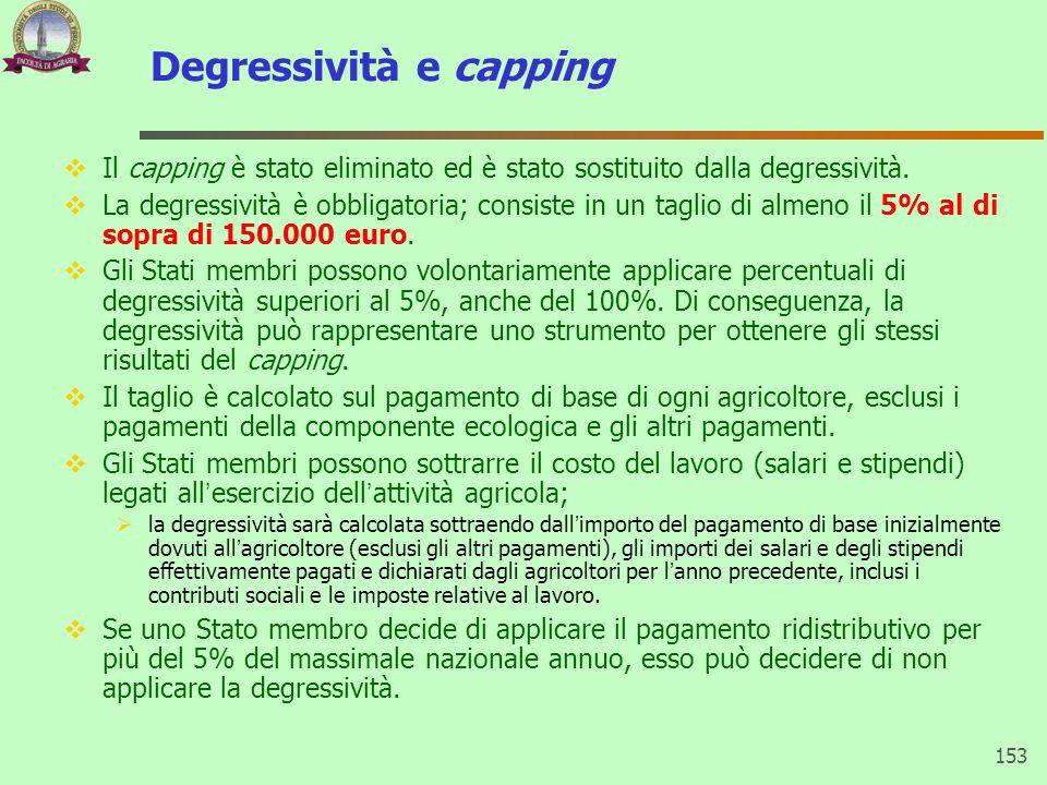 Degressività e capping  Il capping è stato eliminato ed è stato sostituito dalla degressività.  La degressività è obbligatoria; consiste in un tagli