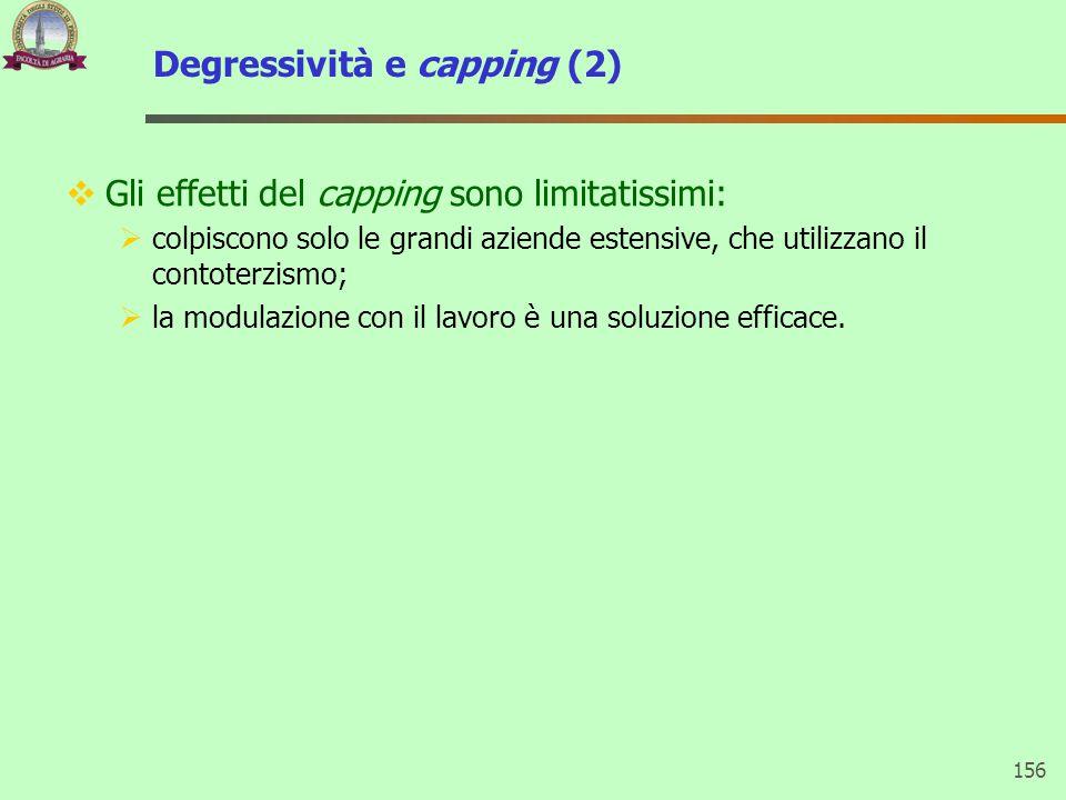 Degressività e capping (2) 156  Gli effetti del capping sono limitatissimi:  colpiscono solo le grandi aziende estensive, che utilizzano il contoter