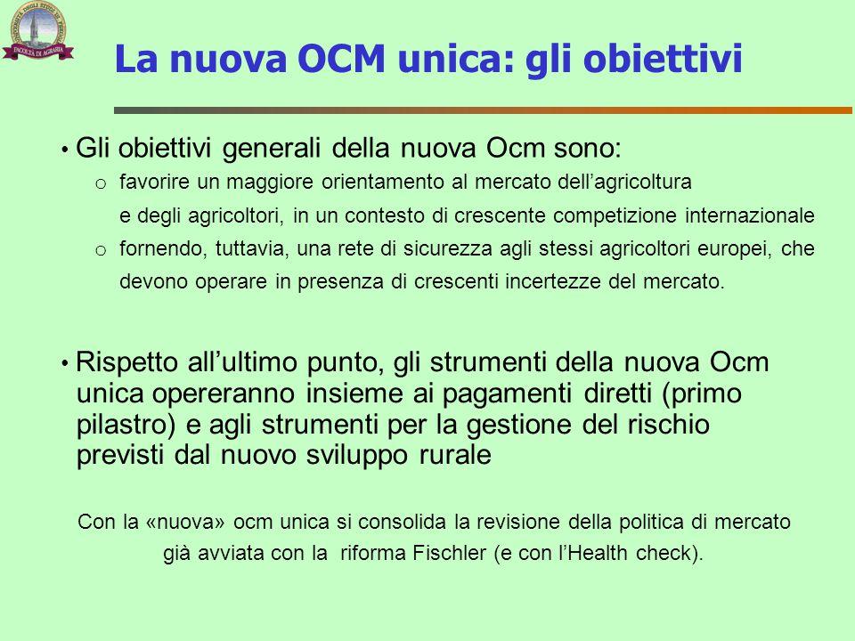 Gli obiettivi generali della nuova Ocm sono: o favorire un maggiore orientamento al mercato dell'agricoltura e degli agricoltori, in un contesto di cr