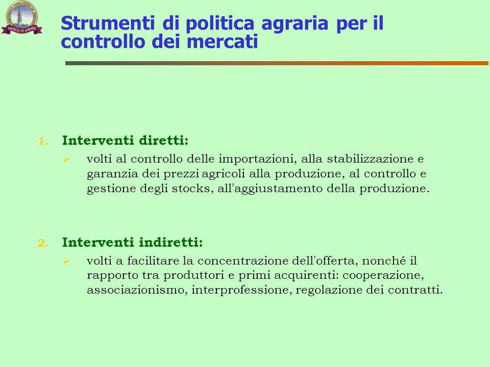 1. Interventi diretti:  volti al controllo delle importazioni, alla stabilizzazione e garanzia dei prezzi agricoli alla produzione, al controllo e ge