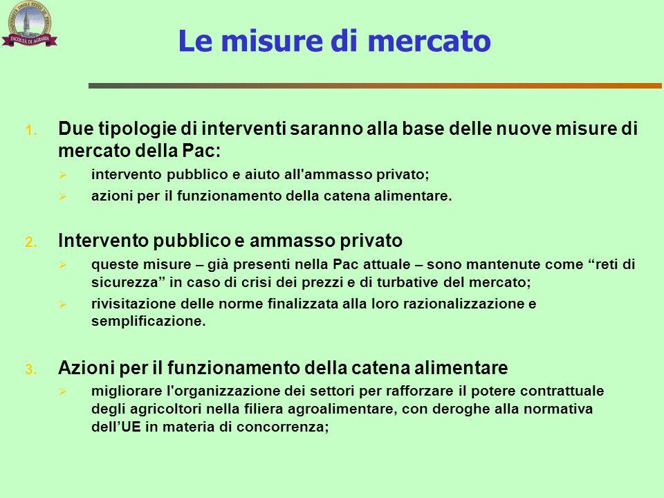 1. Due tipologie di interventi saranno alla base delle nuove misure di mercato della Pac:  intervento pubblico e aiuto all'ammasso privato;  azioni