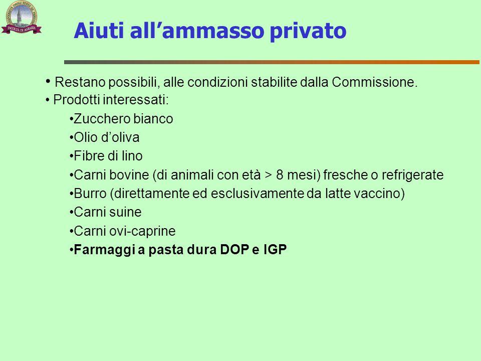 Aiuti all'ammasso privato Restano possibili, alle condizioni stabilite dalla Commissione. Prodotti interessati: Zucchero bianco Olio d'oliva Fibre di