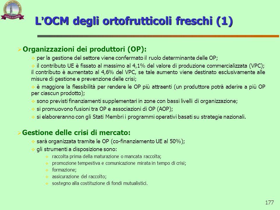 177 L'OCM degli ortofrutticoli freschi (1)  Organizzazioni dei produttori (OP):  per la gestione del settore viene confermato il ruolo determinante