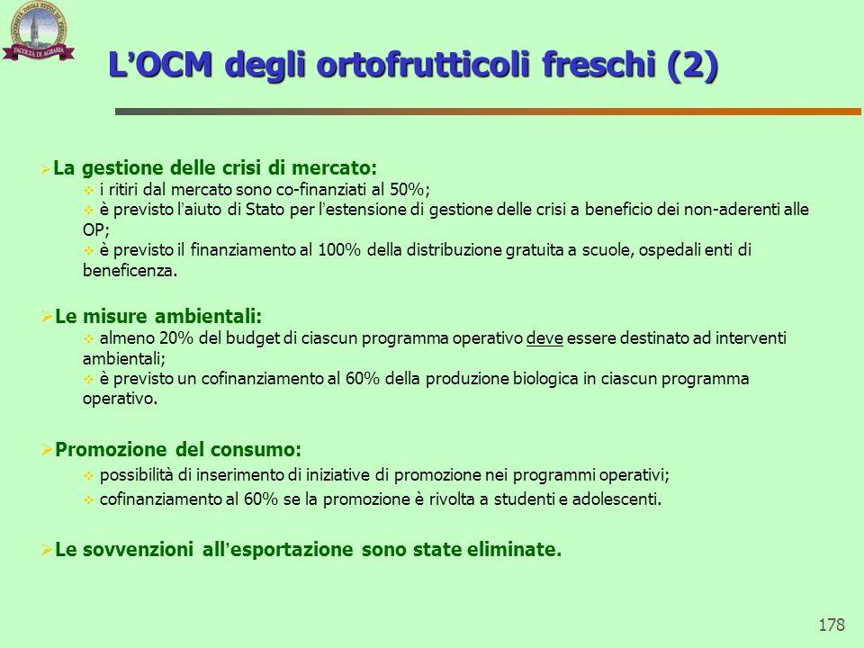 178 L'OCM degli ortofrutticoli freschi (2)  La gestione delle crisi di mercato:  i ritiri dal mercato sono co-finanziati al 50%;  è previsto l'aiut