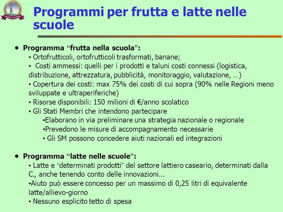 """Programmi per frutta e latte nelle scuole Programma """"frutta nella scuola"""": Ortofrutticoli, ortofrutticoli trasformati, banane; Costi ammessi: quelli p"""