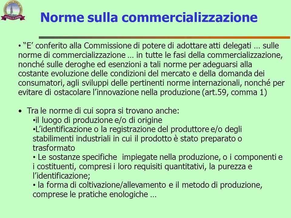 """Norme sulla commercializzazione """"E' conferito alla Commissione di potere di adottare atti delegati … sulle norme di commercializzazione … in tutte le"""