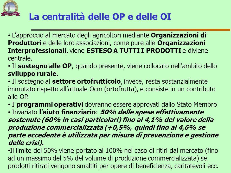La centralità delle OP e delle OI L'approccio al mercato degli agricoltori mediante Organizzazioni di Produttori e delle loro associazioni, come pure