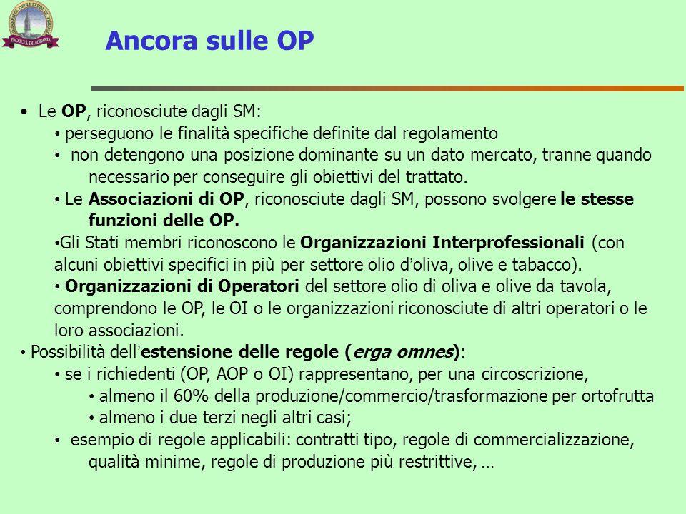 Ancora sulle OP Le OP, riconosciute dagli SM: perseguono le finalità specifiche definite dal regolamento non detengono una posizione dominante su un d