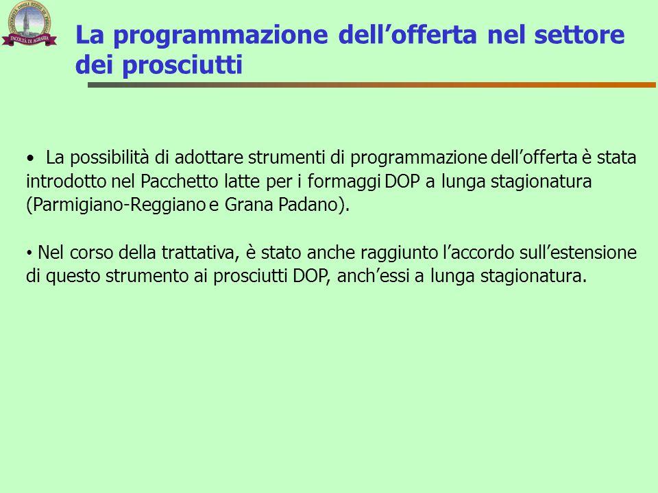 La programmazione dell'offerta nel settore dei prosciutti La possibilità di adottare strumenti di programmazione dell'offerta è stata introdotto nel P