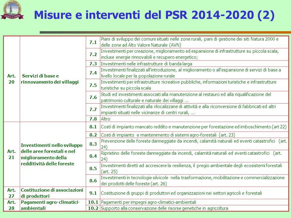 Art. 20 Servizi di base e rinnovamento dei villaggi 7.1 Piani di sviluppo dei comuni situati nelle zone rurali, pani di gestione dei siti Natura 2000