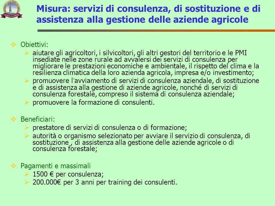 Misura: servizi di consulenza, di sostituzione e di assistenza alla gestione delle aziende agricole  Obiettivi:  aiutare gli agricoltori, i silvicol