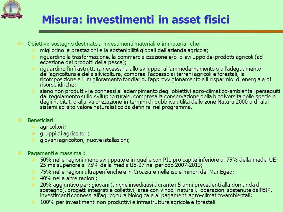 Misura: investimenti in asset fisici  Obiettivi: sostegno destinato a investimenti materiali o immateriali che:  migliorino le prestazioni e la sost