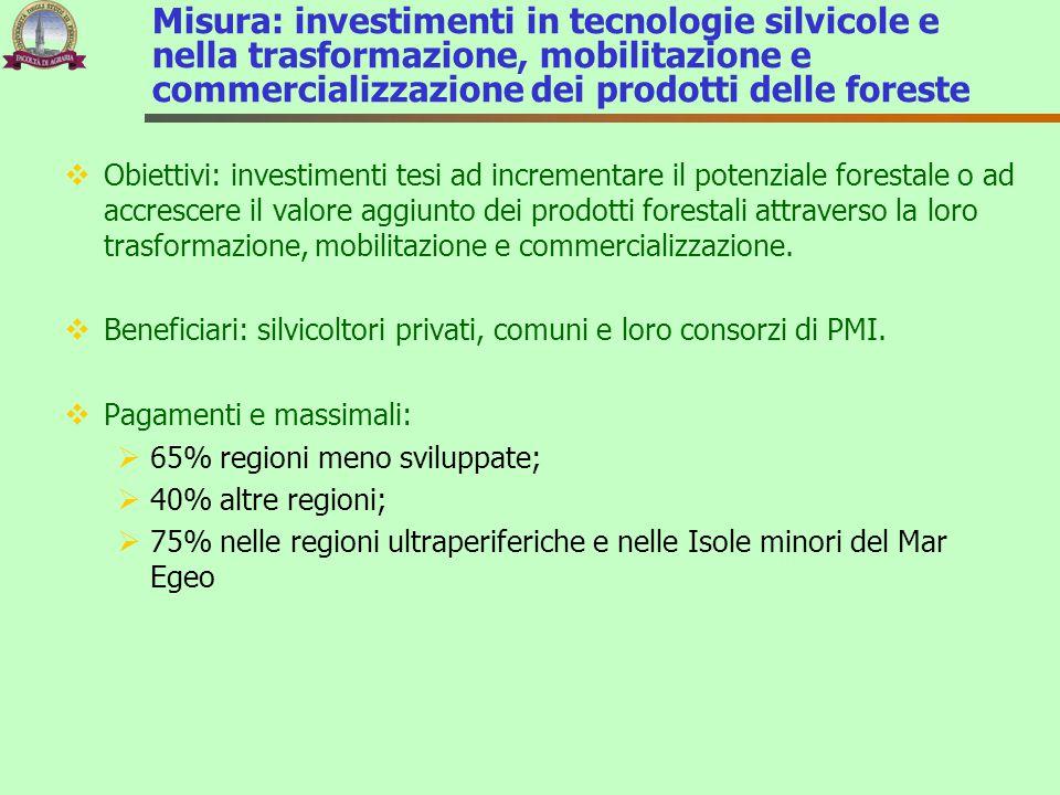 Misura: investimenti in tecnologie silvicole e nella trasformazione, mobilitazione e commercializzazione dei prodotti delle foreste  Obiettivi: inves