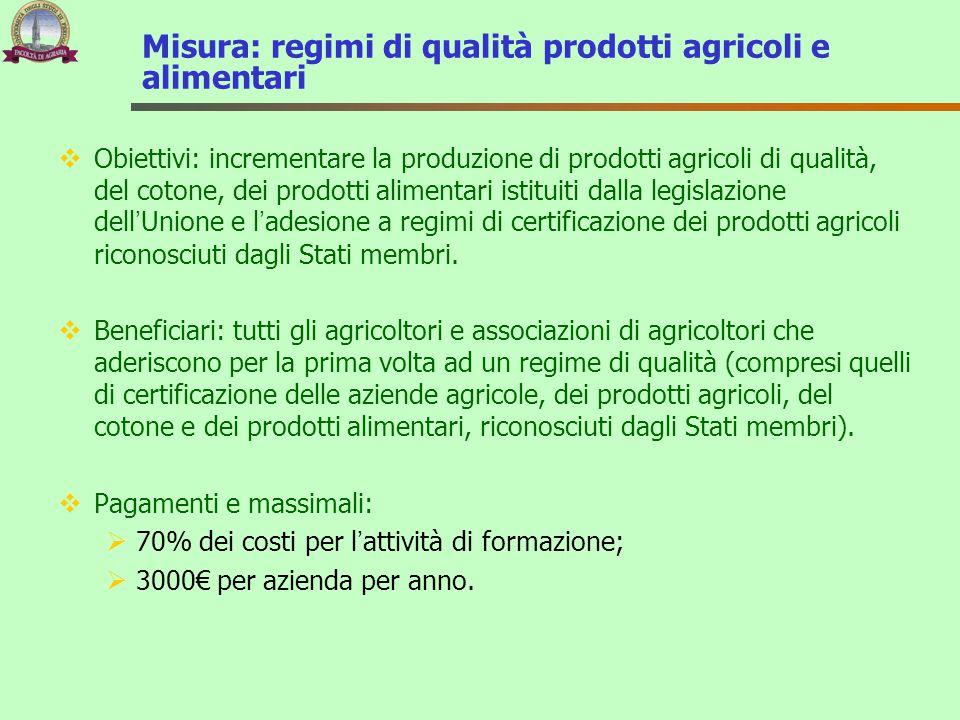 Misura: regimi di qualità prodotti agricoli e alimentari  Obiettivi: incrementare la produzione di prodotti agricoli di qualità, del cotone, dei prod