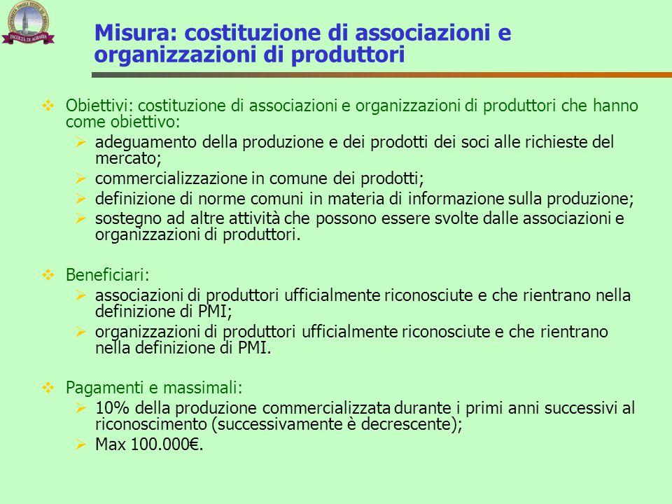 Misura: costituzione di associazioni e organizzazioni di produttori  Obiettivi: costituzione di associazioni e organizzazioni di produttori che hanno