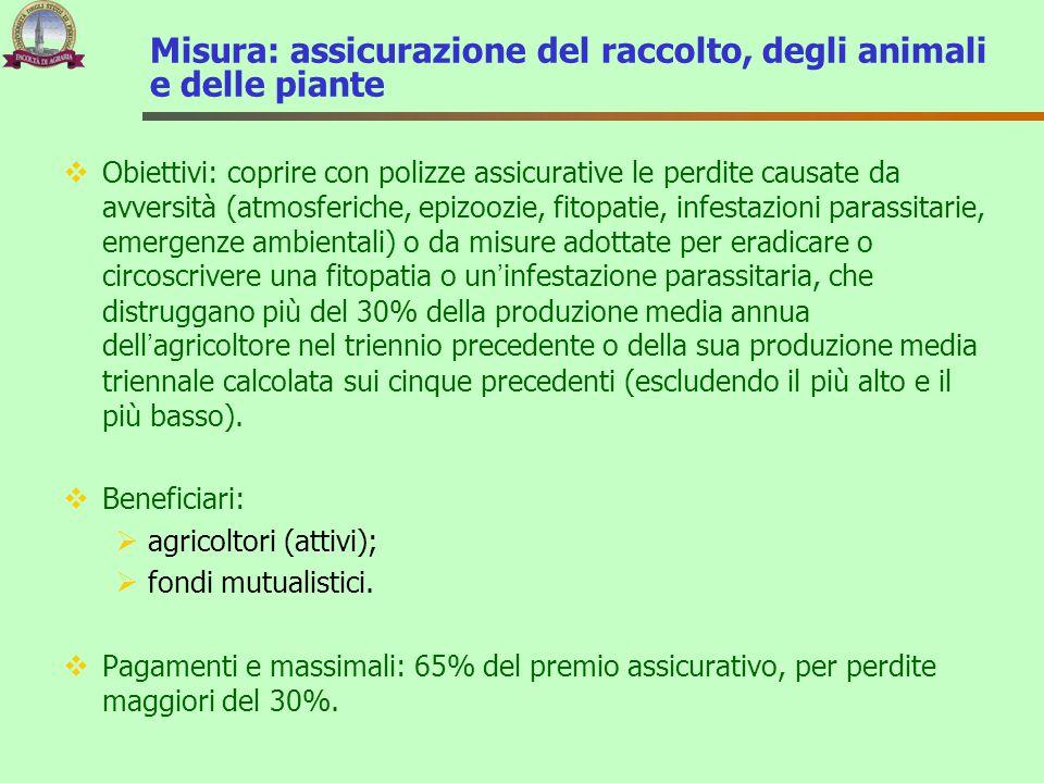 Misura: assicurazione del raccolto, degli animali e delle piante  Obiettivi: coprire con polizze assicurative le perdite causate da avversità (atmosf