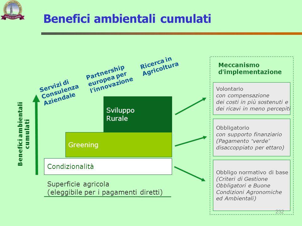 Superficie agricola (eleggibile per i pagamenti diretti) Condizionalità Greening Sviluppo Rurale Benefici ambientali cumulati Obbligo normativo di bas