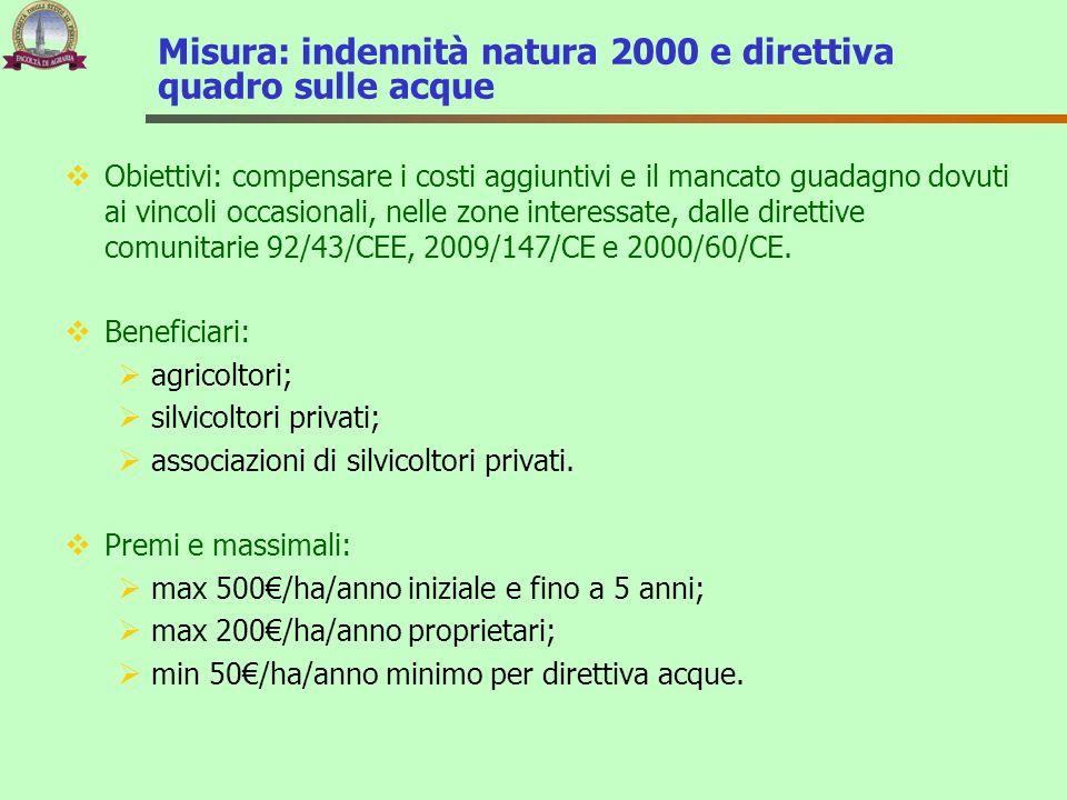 Misura: indennità natura 2000 e direttiva quadro sulle acque  Obiettivi: compensare i costi aggiuntivi e il mancato guadagno dovuti ai vincoli occasi