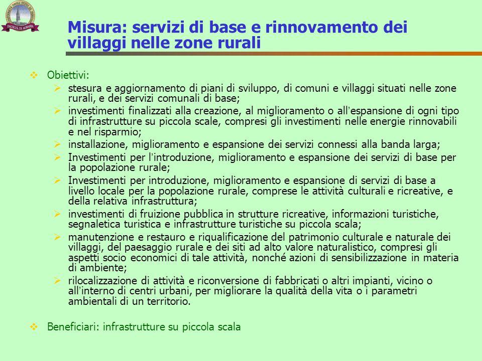 Misura: servizi di base e rinnovamento dei villaggi nelle zone rurali  Obiettivi:  stesura e aggiornamento di piani di sviluppo, di comuni e villagg