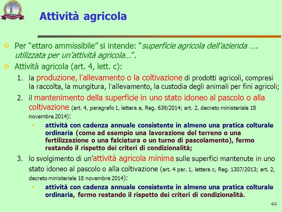 """Attività agricola  Per """"ettaro ammissibile"""" si intende: """"superficie agricola dell'azienda …. utilizzata per un'attività agricola…"""".  Attività agrico"""