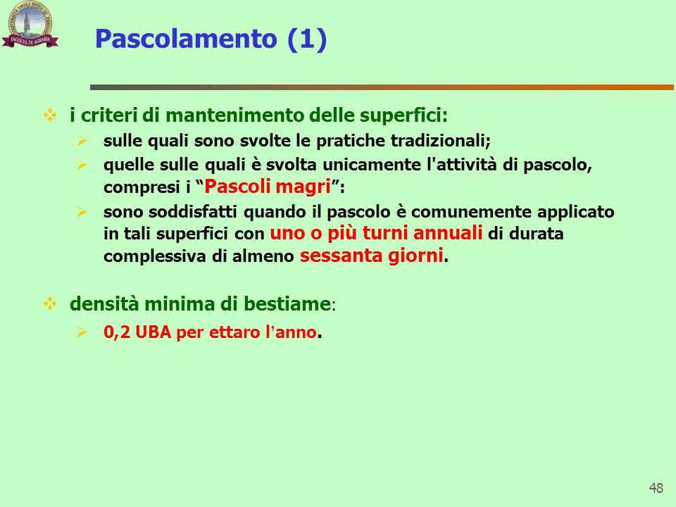 Pascolamento (1)  i criteri di mantenimento delle superfici:  sulle quali sono svolte le pratiche tradizionali;  quelle sulle quali è svolta unicam