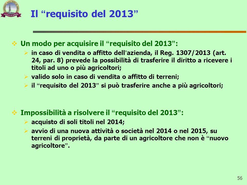 """Il """"requisito del 2013""""  Un modo per acquisire il """"requisito del 2013"""":  in caso di vendita o affitto dell'azienda, il Reg. 1307/2013 (art. 24, par."""