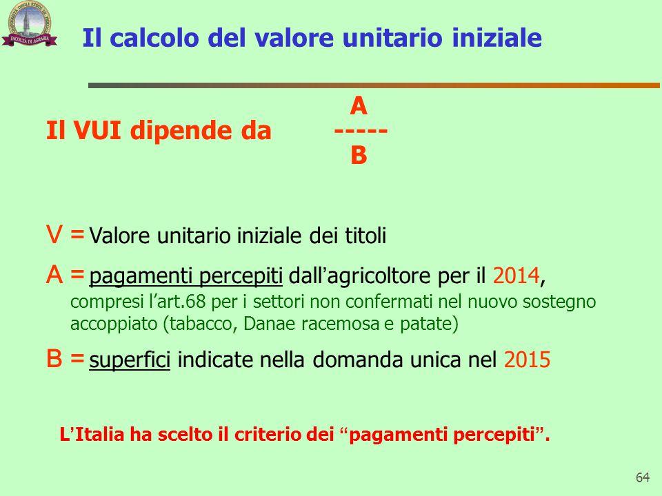 Il calcolo del valore unitario iniziale 64 A Il VUI dipende da ----- B V = Valore unitario iniziale dei titoli A = pagamenti percepiti dall'agricoltor