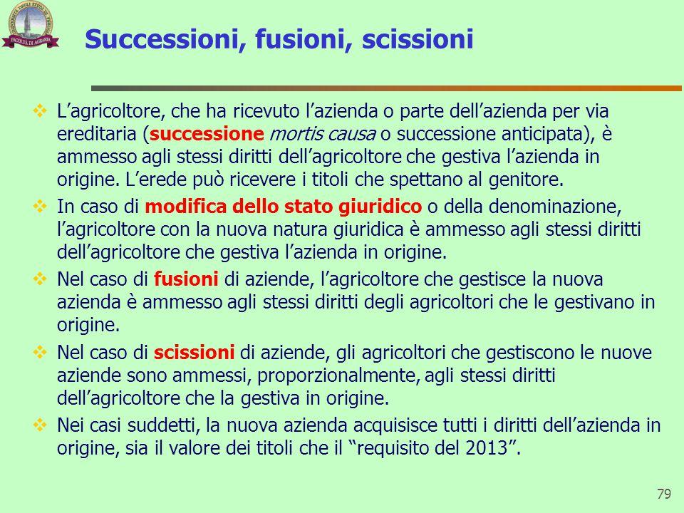 Successioni, fusioni, scissioni  L'agricoltore, che ha ricevuto l'azienda o parte dell'azienda per via ereditaria (successione mortis causa o success