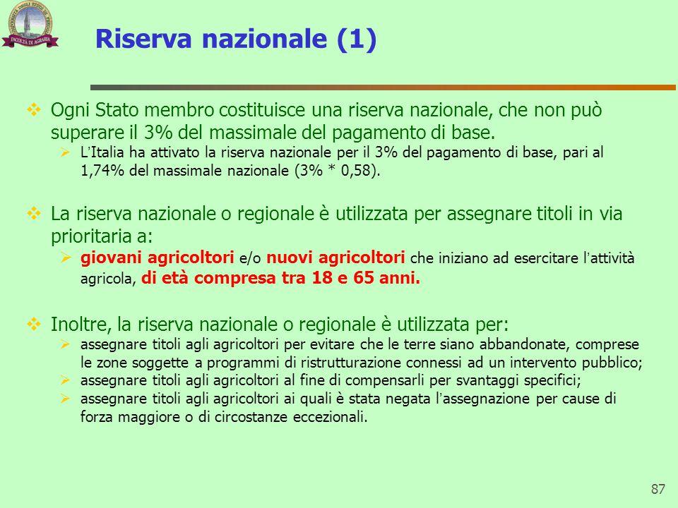 Riserva nazionale (1)  Ogni Stato membro costituisce una riserva nazionale, che non può superare il 3% del massimale del pagamento di base.  L'Itali