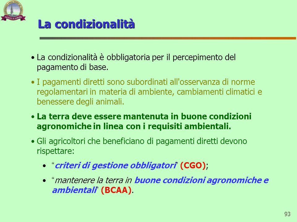 93 La condizionalità La condizionalità è obbligatoria per il percepimento del pagamento di base. I pagamenti diretti sono subordinati all'osservanza d